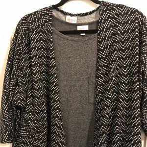 Lularoe Lindsay black and white chevron pattern